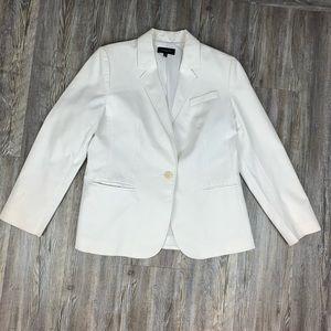 Talbots White Button Front Blazer Size 14